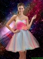 New Style A Line Hand Made Flower and Beaded Prom Dresses in Multi Color
