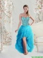 2016 Beautiful Sweetheart Beaded and Ruffles Turquoise Prom Dresses High Low