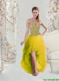 2016 Classical High Low Sweetheart Yellow Prom Dresses with Beading and Ruffles
