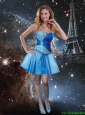 2016 Pretty Mini Length Sweetheart Blue Prom Dresses with Beading