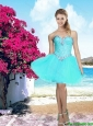 Beautiful 2016 Organza Sweetheart Beaded Prom Dress in Aqua Blue