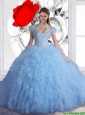 2015 Luxurious Light Blue Sweet 16 Dresses with Beading