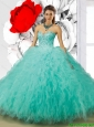 Modern Aqua Blue Sweetheart Quinceanera Dresses with Beading for 2015