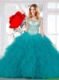 Pretty Scoop Teal Dresses for Quinceanera with Appliques and Ruffles