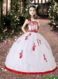2016 Fall Luxurious White and Red Little Girl Pageant Dress with Appliques