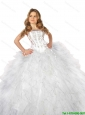 2016 Fall New Arrival White Little Girl Pageant Dress with Appliques and Ruffles