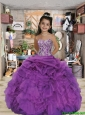 2016 Summer Luxirious Sweetheart Appliques and Ruffles Purple Little Girl Pageant Dress