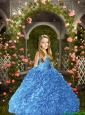 2016 Summer Popular Blue Little Girl Pageant Dress with Beading and Ruffles