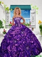 2016 Summer Popular Strapless Purple Little Girl Pageant Dress with Appliques and Pick-ups