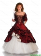 Beautiful 2016 Winter Ball Gown Wine Red Little Girl Pageant Dress with Beading