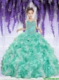 Luxurious 2016 Winter Ruffles and Beaded Decorate Little Girl Pageant Dress in Apple Green