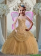 Pretty 2016 Summer Ball Gown Sweetheart Floor Length Gold Little Girl Pageant Dress