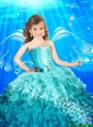Pretty 2016 Summer Good Sweetheart Blue Little Girl Pageant Dress with Beading and Ruffles