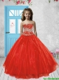 2016 Spring Perfect Red Little Girl Pageant Dress with Beading