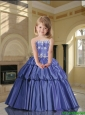 2016 Summer Popular Strapless Lavender Little Girl Pageant Dress with Appliques