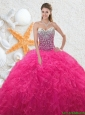 2016 Beautiful Sweetheart Beading Quinceanera Dresses in Hot Pink