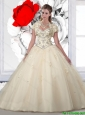 Beautiful Sweetheart Beaded Champagne Quinceanera Dresses with Appliques for 2016