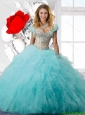 Decent Ball Gown Beaded and Ruffles Sweet 16 Dresses in Aqua Blue