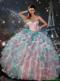 Exquisite Multi Color Sweetheart Quinceanera Gowns with Beading and Ruffles