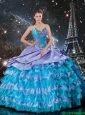 Latest Ball Gown Ruffled Layers and Beaded Sweet 16 Dresses in Multi Color