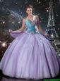 Modern Ball Gown Lavender Tulle Quinceanera Dresses with Beading