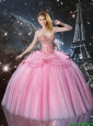 Sophisticated Beaded and Bowknot Quinceanera Dresses in Rose Pink
