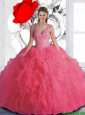 Sophisticated Beaded and Ruffles Rose Pink Quinceanera Dresses with Straps