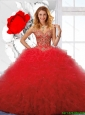 Wonderful Appliques and Ruffles Red Sweet 16 Dresses for 2016