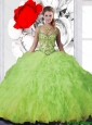 2015 Summer Straps Puffy Quinceanera Dresses in Spring Green