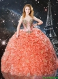 2016 Edgy Sweetheart Brush Train Quinceanera Dresses with Beading