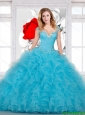 2016 Perfect Ball Gown Beaded and Ruffles Sweet 16 Dress in Aqua Blue