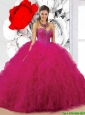 2016 Pretty Fuchsia Sweetheart Sweet 16 Dresses with Beading and Ruffles