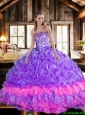 Beautiful Ball Gown Multi Color Sweet 16 Dresses with Ruffles and Beading