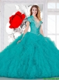Elegant Teal Quinceanera Dresses with Beading and Ruffles for 2016