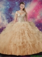 Exclusive V Neck Champagne Quinceanera Dresses with Ruffles for 2016