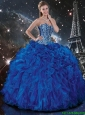 Luxurious Beaded and Ruffles Quinceanera Dresses in Royal Blue