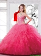 Luxurious Hot Pink Straps Sweet 15 Dresses with Beading and Ruffles for 2016