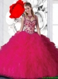 New Style Straps Beading Quinceanera Dresses in Fuchsia for 2015
