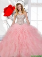 Perfect 2015 Strapless Beaded and Ruffles Quinceanera Dresses in Multi Color