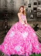 Pretty Brush Train Sweetheart Rose Pink Quinceanera Dresses with Ruffles and Beading