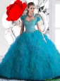 2016 New Style Beading and Ruffles Quinceanera Dresses in Teal