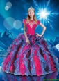 2016 Perfect Bateau Multi Color Quinceanera Dresses with Appliques and Ruffles