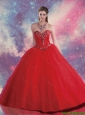 Customise Sweetheart Beaded and Sequins Quinceanera Dresses in Red
