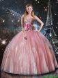 Elegant Ball Gown Beaded Pink Quinceanera Dresses with Belt