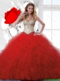 Inexpensive Sliver and Red Sweet 16 Dresses with Beading and Ruffles