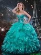 Informal Beaded and Ruffles Turquoise Quinceanera Dresses with Brush Train