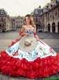 Luxurious White and Red Quinceanera Dresses with Ruffled Layers and Embroidery