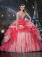 Modest Brush Train Beaded Quinceanera Dresses in White and Red
