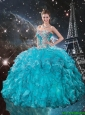 Romantic Appliques Sweetheart Teal Quinceanera Gowns with Ruffles