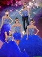 2016 Fall Detachable Beaded and Ruffles Sweetheart Wonderful Quinceanera Dresses in Royal Blue